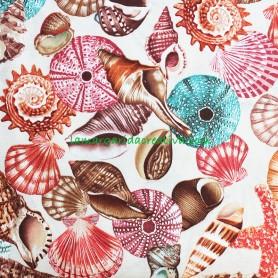 Tela patchwork Caracolas y conchas Neptune's Dream tienda mercería la margarida creativa