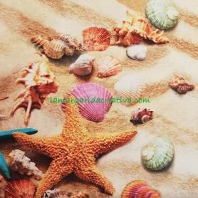 Tela Arena Playa Sand Estampado Digital Patchwork y Costura tienda merceria la margarida creativa