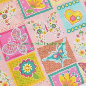 Tela Fantasía cuadros Rosa en tienda telas merceria la margarida creativa 1