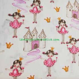 Tela Infantil Algodón Princesas y Castillos  Patchwork y costura en tienda telas online merceria la margarida creativa 1