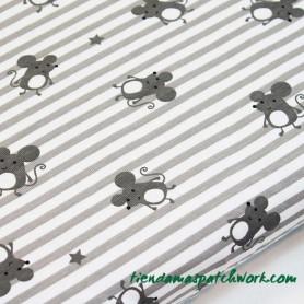 Tejido punto elástico Mouse Gris rayas ratoncitos 2