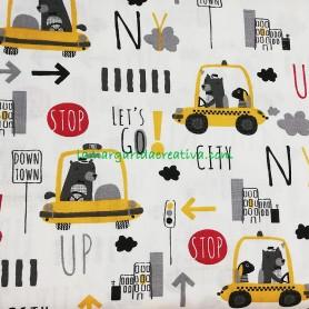 Tela Infantil Algodón Taxis en tienda online merceria la margarida creativa 1