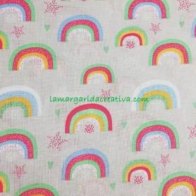 Tela Arco Iris fondo arena en tienda online telas y merceria la margarida creativa 1