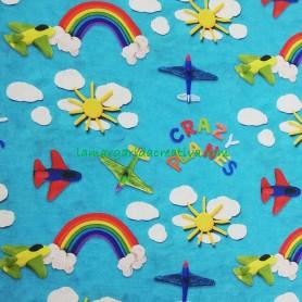 Tela Infantil algodón Arcoiris Aviones Crazy Planes en tienda online merceria y telas lamargaridacreativa 1