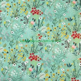 Tela Flores Verde Sakura Patchwork y costura tienda  telas merceria lamargaridacreativa 1