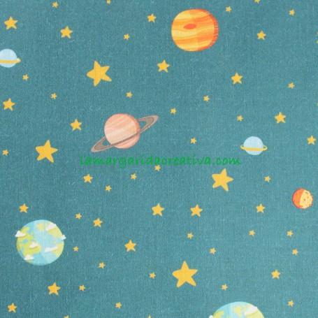 Tela Principito Planetas Algodón Patchwork y costura creativa en tienda telas la margarida 1