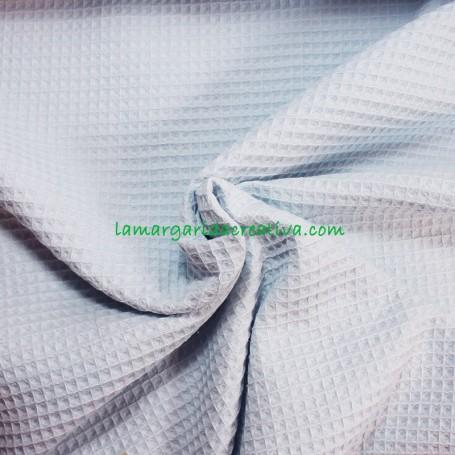 Tejido Gofre waffle nido de Abeja Azul Bebé tienda telas La Margarida creativa 2