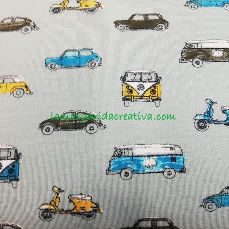 Tela punto elástico volkswagen furgos escarabajo vespa en tienda mercería y telas barcelona la margarida creativa 1