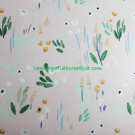 Tela Soft Shell  forro polar flores Detective Flowers 1