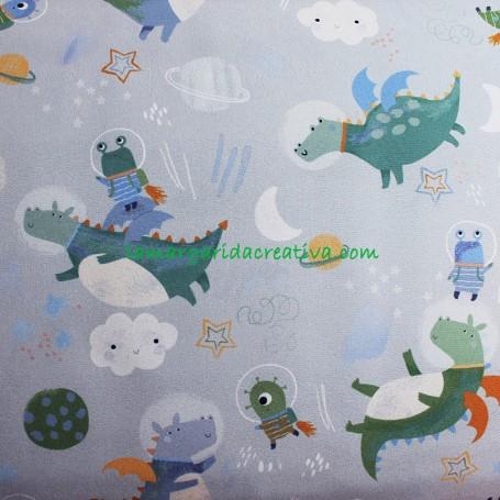 Tela Tejido Soft Shell Astro Pals Espacio Dragones y astronautas en tienda online lamargaridacreativa 1