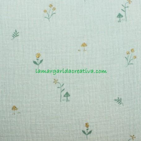 Tela Muselina Flores y plantas Botanist katia en tienda online telas y merceria la margarida 1