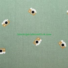 Tela Ructic Cotton Cámaras Adventure Verde Kaky katia tienda telas merceria online la margarida 1